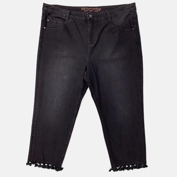 Soft Surroundings Denim - Soft Surroundings Tassel Trimmed Jeans Black 18P